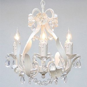 WROUGHT IRON FLORAL CHANDELIER CRYSTAL FLOWER CHANDELIERS LIGHTING  H15 X W11 SWAG PLUG IN