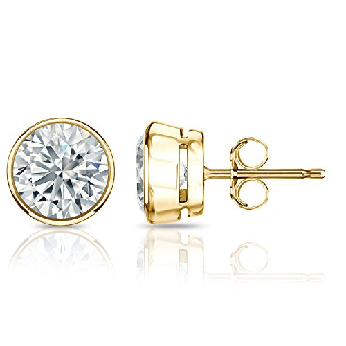 IGI Certified 14k Yellow Gold Round Diamond Stud Earrings Bezel (2 cttw, O. White, I2-I3) ()