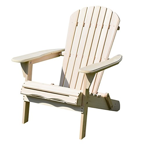Merry Garden Foldable Wooden Adirondack Chair, Outdoor, Garden, Lawn, Deck Chair, Natural (Wooden Plans Patio Chairs)