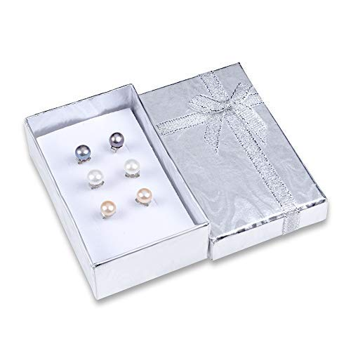 Cultured Pearl Stud Earrings Sterling Silver Set of 3