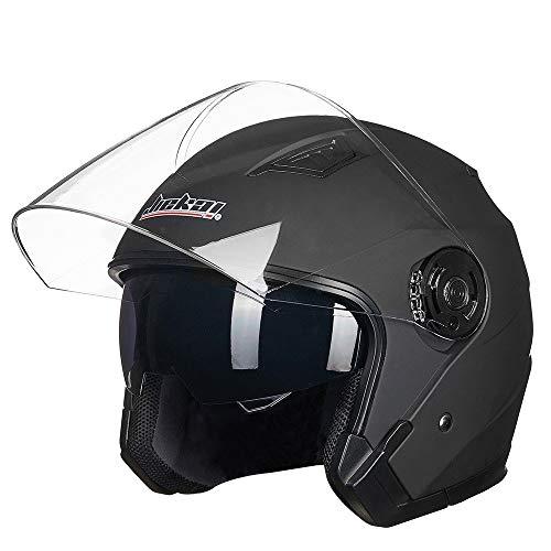 YMYGCC Motorradhelme männer Motorrad-Sturzhelm geöffneter Gesichts-Motorrad-Weinlese-Helme Doppel-Objektiv Schwarz 81