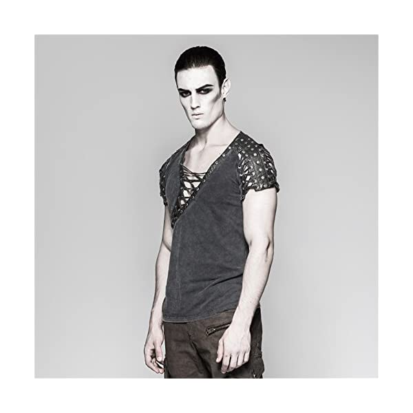 Steampunk Asymmetric Big Neck Men T Shirts Fine Cotton T-Shirts with Hollow Drawstring Casual Tops 4