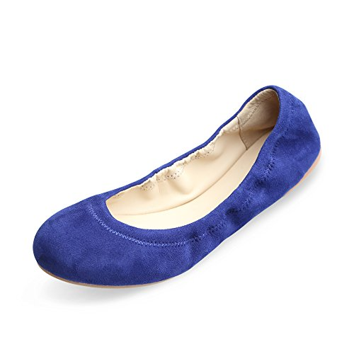 Xielong Women's Chaste Ballet Flat Lambskin Loafers Casual Ladies Shoes Leather Navy 5.5