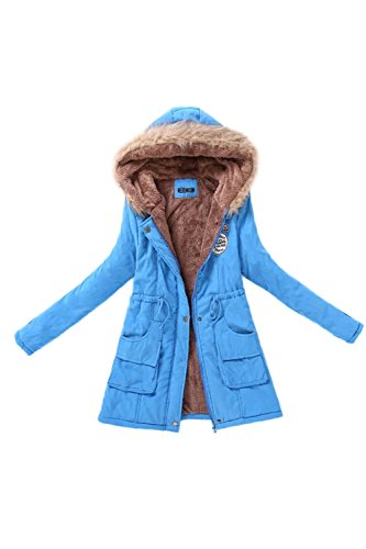 Con Giacca Blue Donne Inverno Cappotto Di Caldo Cappuccio Addensare Parka fX0f6wq
