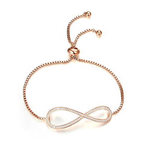 Bella Lotus 18k Rose Gold Plated Cubic Zirconia Infinity Symbol Adjustable Charm Bracelets Fashion Jewelry