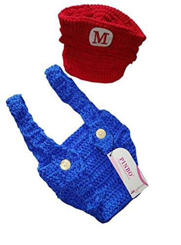 [Pinbo® Newborn Baby Photography Prop Crochet Games Mario Hat Overalls] (Infant Mario Costumes)
