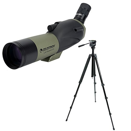 Celestron Ultima 65mm Spotting Scope with 18-55x Eyepiece (Angled Viewing) and Trailseeker Tripod Bundle (2 Items)