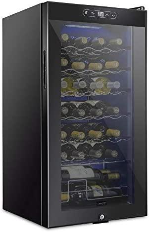 Schmecke 28 Bottle Compressor Wine Cooler Refrigerator w/Lock | Large Freestanding Wine Cellar | 41f-64f Digital Temperature Control Wine Fridge For Red, White, Champagne or Sparkling Wine - Black