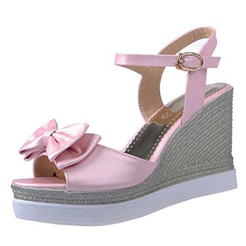 Alto Abierta Cunas Verano Zapato Mujer Tacon Coolcept Moda Punta de Tacon Plataforma Sandalias Rosado Casual X0B4XPwx