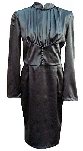 Vintage dress-40 42 de thé à long satin gothique de 50 rétro victorienne steampunk de 40