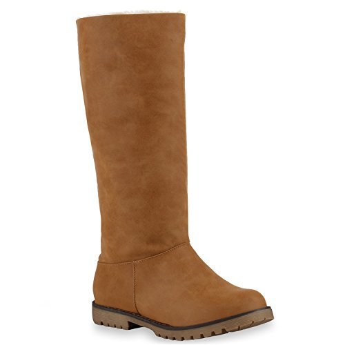 Stiefelparadies Warm Gefütterte Stiefel Damen Winterstiefel Wildleder-Optik Boots Schnallen Profilsohle Winter Schuhe Flandell Hellbraun