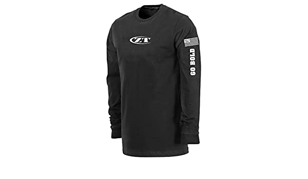 94e9c9fc2d3 Amazon.com   Zero Tolerance Kershaw Long Sleeve Logo T-Shirt  Black White  Writing on Sleeve and ZT Emblem Across The Chest  Dry Blend Fabric Pulls  Heat and ...