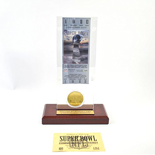 Highland Mint Super Bowl XLIII Replica Ticket with Bronze Coin (Super Bowl Bronze Coin)