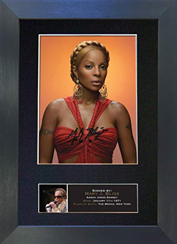 #416 Mary J Blige Signed Autograph Photo Reproduction Print A4 Rare Perfect Birthday (297 x 210mm) (Black Frame)