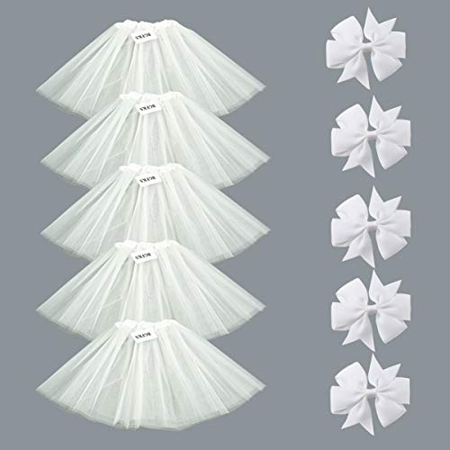 BGFKS 5 Pack Tutu Skirt for Girl Ballet Dance Costume Dress up Princess Party Girl Tutus with Butterfly Headdress 12 Colors Age 2-8(White) ()