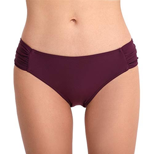 Cherrydew Womens Side Ruched Swim Bottoms Shirred Full Coverage Bikini Briefs(Purple, Medium)