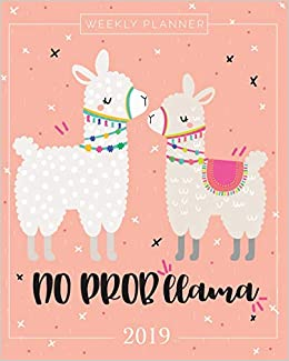2019 planner weekly and monthly calendar schedule organizer inspirational quotes and llama lettering cover january 2019 through december 2019