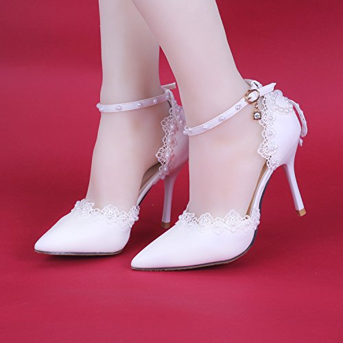 Si High Bride heeled Lace Pearl Sandals Pointed Women's Bridesmaid Heel And Toe Wedding Shoes 7cm Dance amp; Stiletto OYRU6rqO