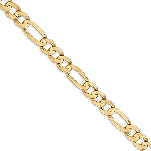 Men's 6mm 14k Yellow Gold Open Concave Figaro Chain Necklace, 22 Inch ()