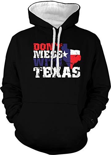 Amdesco Men's Don't Mess with Texas Two Tone Hoodie, Black/White Large