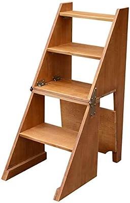 RFJJAL Plegable, portátil de 4 Pasos de Escalera de heces, Escalera de Madera, escalones de Madera for Adultos, Cultivar un huerto casero Dispositivo for Trabajo Pesado, MAX.150 Kg, Altura: 92 Cm: Amazon.es: