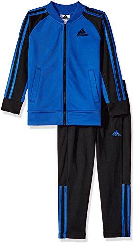 adidas Little Boys' Tricot Jacket and Pant Set, Hi-Res Blue, 4 (Kids Tracksuit)