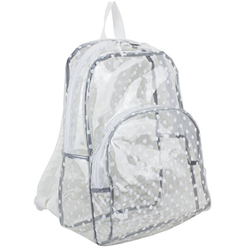 Eastsport Clear Backpack, Fully Transparent with Padded Straps, Clear/Printed White Dots (Eastsport Mesh Backpack With Padded Adjustable Straps)