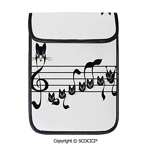SCOCICI iPad Pro 12.9 Inch Sleeve Tablet Protective Bag Notes Kittens Kitty Cat Artwork Notation Tune Children Halloween Stylized Custom Tablet Sleeve Bag Case]()