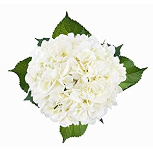 Bomarolan Artificial Hydrangea Silk Flowersy Real Touch Fake Bouquet for Wedding,Birthday Party,Home Décor 3 Pcs(White) 53