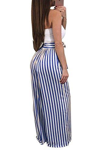 Pantaloni Luce Pantaloni Pantaloni Inclusa Pants High Stoffa Blu Lunga Damigella Fashion Trousers Lannister Cintura Palazzo Waist Pantaloni Stripe Di Baggy Donna Estivi 5TnxRSO