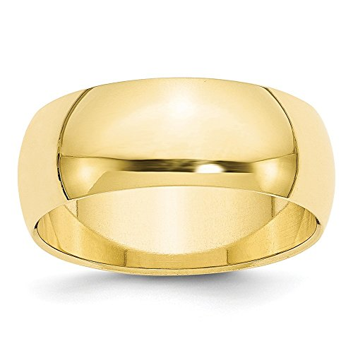 10k Yellow Gold 8mm Half Round Wedding Ring Band Size 7 Classic Fine Jewelry Gifts For Women For Her ()