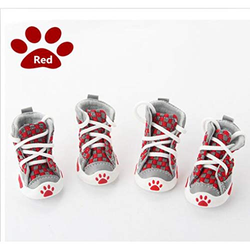 - Jim-Hugh Pet Boots Cotton Inner Dogs Shoes Outside Sports Shoes for Small Dogs Tie-Knitted Colored Plaid Teddy Boots