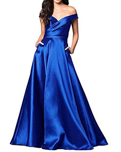 Elleybuy Women's V Neck A-Line Ruched Satin Prom Dresses Backless Formal Evening Dresses US16 ()