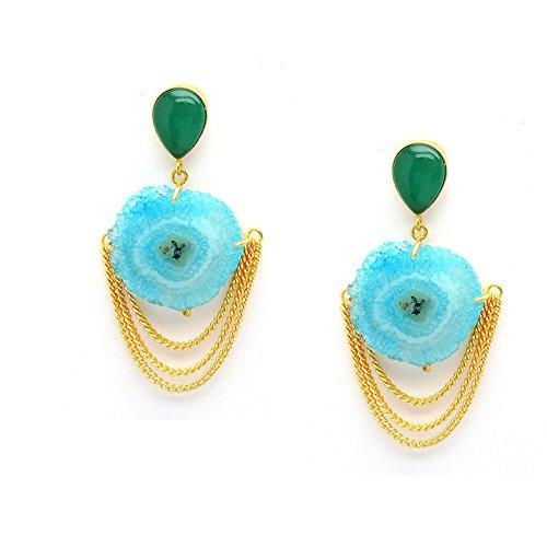Vaidehijewellers01 Designer Green Onyx And Druzy Stud Beautiful Part Wear Earring for (Designer Onyx Stud)