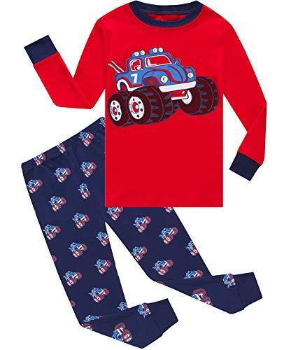 Boys Pajamas Long Sleeve 100% Cotton Toddler Pjs Kids Clothes Pants Set 2T Red