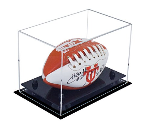 Deluxe Clear Acrylic Mini - Miniature (not Full Size) Football Display Case with Black Risers (Black Acrylic Football Display Case)