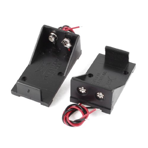 uxcell 2 Pcs Black Plastic 9V Cells Battery Holder Case Box w Wired Leads primary