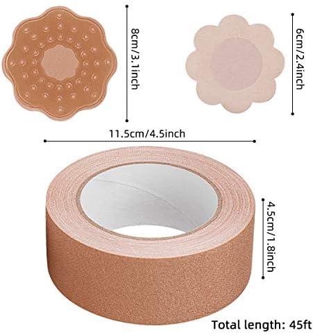 tutte le coppe nastro traspirante fai-da-te per seno grande nastro adesivo per seno in su con petali invisibili in silicone ANBETSet nastro adesivo per seno e set di 5 copricapezzoli per petalo