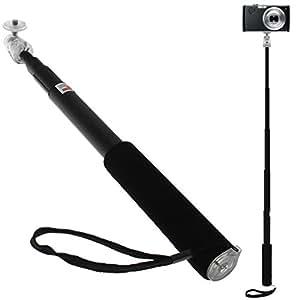 igadgitz Negro Monopod con Palillo Extensible Telescópica a Mano Autorretrato Selfie Stick para Olympus Stylus Tough TG-850 Cámara Digital