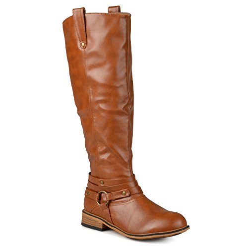 Journee Collection Womens Regular Sized, Wide-Calf and Extra Wide-Calf Ankle-Strap Knee-High Riding Boot Chestnut