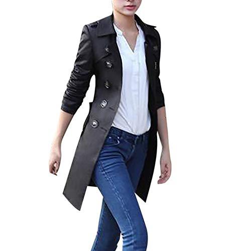 HYIRI Retro Double Breasted Long Trench Coat,Women Slim Windbreaker Jacket Overcoat -