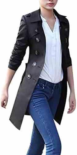 9b815d1acdf Fainosmny Women Cardigan Slim Windbreaker Double Breasted Jacket Coat Lapel  Trench Coat Christmas Overcoat Parka