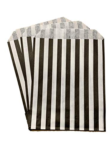 Packitsafe 500 x Black Candy Bags 7×9 Inch, Paper Stripped Stripe Bag, Party Sweets Bags