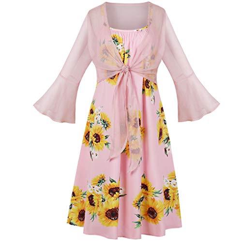 Two Piece Suits, Caopixx 2PCS Fashion Women Bandage Sunflower Print Dress+Flare Sleeve Cardigan Suits Pink -