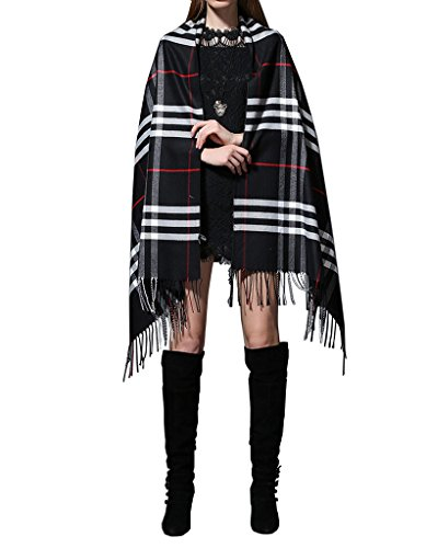 Soft-Plaid-Check-Winter-Scarf-Warm-Oblong-12x72-Fringe-Unisex