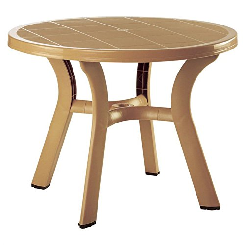Truva Resin Round Dining Table 42 Inch (Teak Brown) (29