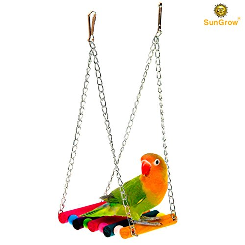 Colorful, Environmentally Friendly SunGrow Pet Bird Swing - Durable, Bite Resistant play toy - Perfect for Training or Entertaining your Parakeet, Finch, Canary or Small - Stores Me Targets Near
