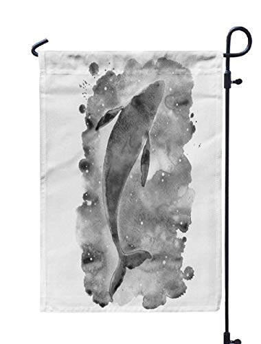Shorping Welcome Garden Flag, 12x18Inch Whale in The Water Watercolor for Holiday and Seasonal Double-Sided Printing Yards -