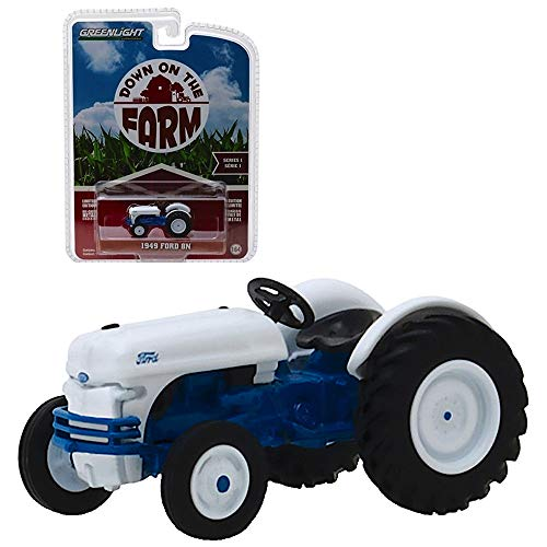 1949 Ford 8N Tractor White and Blue Down on The Farm Series 1 1/64 Diecast Model by Greenlight 48010 B ()