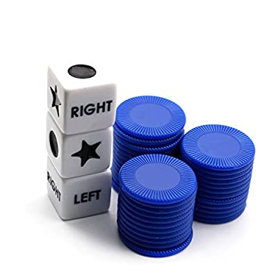Annietfr Left Right Center Dice Game Set with 3 Dices + 36 Blue Chips - (Blue Chips): Toys & Games